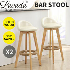 2x Levede Bar Stools Chairs Swivel Barstools Kitchen Wooden PU Leather Stool