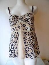 Nanette Lepore Multicolor Leopard Print Sleeveless  Lace Cami  Shell Top Size 8