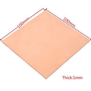 1pc 1mm × 100mm x 100mm 99.9% Pure Copper Cu Metal Sheet Plate