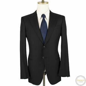 Giorgio Armani Black Wool Silk Mute Striped Glossy Dual Vents 2Btn Suit 40R