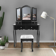 Black Folding Mirror Vanity Makeup Dressing Table Home Furniture With 4 Drawers