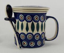 Bunzlauer Keramik Teetasse mit Sieb & Löffel, blau/weiß/grün - 0,3Ltr. (K059-54)