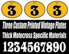 SET OF 3 VINTAGE MOTOCROSS CUSTOM PRINTED VINYL DECAL RACE OVAL NUMBER PLATE