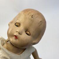 "Small Vintage Antique Doll Composition Creepy Halloween Decor Prop Repair 11"""