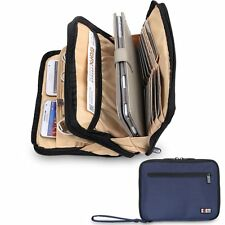 Dark Blue Thick Padded Travel Electronic Organiser Cables, Leads, Cubed Design