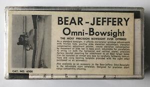 NOS Vintage Fred Bear-Jeffery Omni-Bowsight Traditional Recurve Archery Sight TD