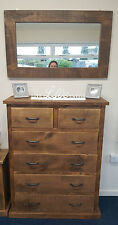NEW SOLID WOOD RUSTIC CHUNKY PLANK SLIM CHEST OF DRAWERS **MADE TO MEASURE**