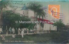 PANAMA SONA EL PARQUE Y LA IGLESIA PARROQUIAL REAL PHOTO COLORED