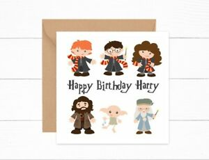 Personalised Birthday Card Girls Boys Cartoon Harry Potter Themed  Son Daughter