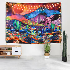 Psychedelic Colorful Mountain Tapestry Hippie Mushroom Wall Hanging Wall Blanket