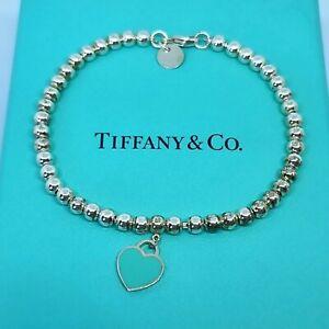 Genuine Return to Tiffany & Co Blue Heart Tag Bead Bracelet Silver