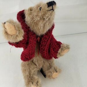 Vintage Boyds Collection Bear Jointed Legs Arms Wearing Knitted Red Ganz Sweater