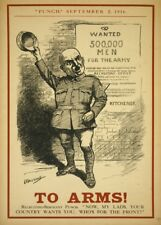 TO ARMS! WHO'S FOR THE FRONT (PUNCH MAGAZINE) British WW1 Propaganda Poster
