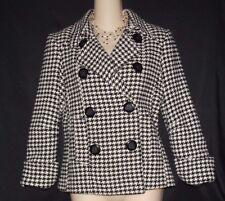 Vtg Mudd Black/White Houndstooth Dbl Brstd Lined Wool Blazer Career Jacket S/M