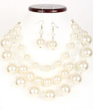 "22"" 3 Layered Cream Pearl and Clear Crystal Beaded Necklace W Matching Earrings"
