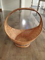 Vintage Basket Curved Handle Oval Gathering Basket Beautiful and Unusual
