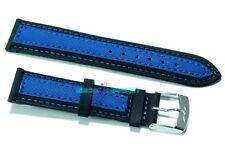 Cinturino per olorogio tessuto cordura imbottito 20mm nero blu tipo sector s20b
