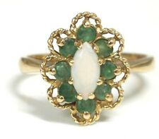 .375 9ct YELLOW GOLD Marquise OPAL & Green EMERALD Halo Ring, O.5, 3.32g - CA3