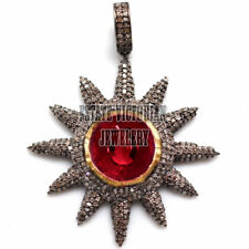 Antique Finished 4.92Cts Rose Cut Diamond Jewelry Ruby Silver Sunburst Pendants