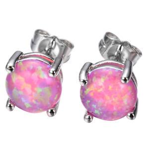 925 Sterling Silver Plated Purple Pink Fire Opal Gemstone Stud Earrings 6 MM New