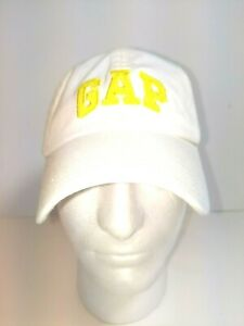 Gap White Baseball Cap Logo Yellow Letters Adjustable One Size NEW With Tags