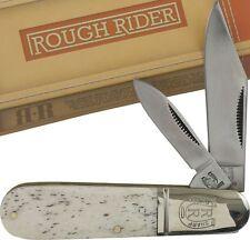 Rough Rider White Smooth Bone Handle Barlow Pocket Knife RR198 2 Folding Blades
