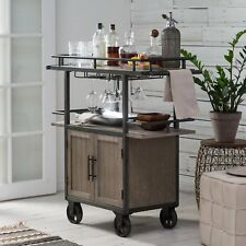 Metal Wood Driftwood Finish Farmhouse Industrial Mobile Bar Cart Serving Cart