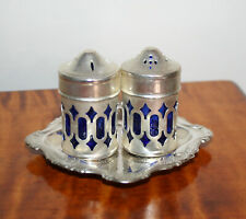 VINTAGE COBALT BLUE GLASS SILVER PLATED OVERLAY SALT & PEPPER SHAKERS & TRAY