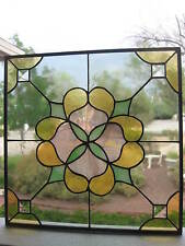 """Vintage Stained Glass Panel / Window Sun Catcher...14"""" x 14"""" Square...Lovely!"""