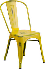 Distressed Yellow Metal Indoor-outdoor Stackable Chair, Patio, Deck