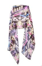 Graphic eye print pink,blue & purple -colour urban styled neck scarf (S-25)