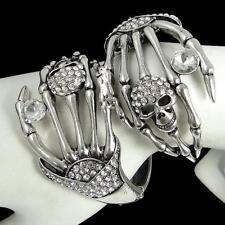 Skull Hand Bracelet Bangle Cuff Rhinestone Crystal Halloween Vintage Style
