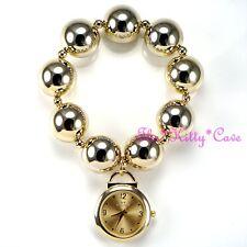 Designer Gold Plt Big Chunky Ball Beads Boho Chic Sexy Cuff Bracelet Charm Watch
