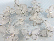 "24 Wire Glitter Butterfly 1"" Floral Arrangement Decoration/Craft L8-Small-Silver"