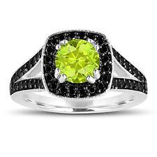 Green Peridot And Enhanced Black Diamonds Engagement Ring 14K White Gold 1.56ct
