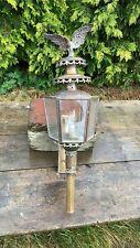 Hermosa Vintage Latón y Cristal Luz al aire libre con soporte de decoración y Águila *