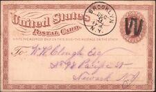 """U.S. 1873. Post Card UX1, Brooklyn """"W"""" - Newark"""