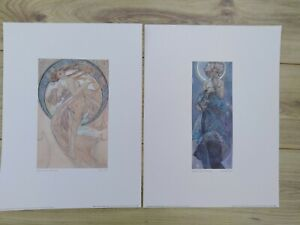 Two Large Alphonse Mucha Prints - 'Dance' from The Four Arts / 'The Moon' from T