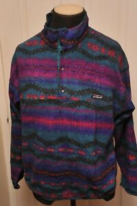 "VINTAGE PATAGONIA MADE IN USA HIKING / WALKING ""AZTEC COLOURS"" FLEECE TOP XL"