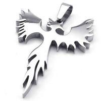Schmuck Edelstahl Phoenix Feuervogel Anhaenger mit 60cm Kette, Halskette fuer 2I