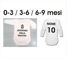 body m/lun. neonato baby Juventus Juventino dalla nascita nome numero 3-6-9 mesi