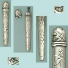 Antique French Silver Wheat & Grasses Needle Case * Circa 1900s