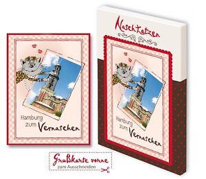 Glückwunschkarte Hamburg zum Vernaschen 70gr Vollmilchschokolade Kunstkarte