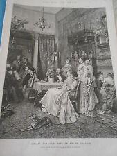 Gravure 1873 - Concert d'amateurs atelier d'artiste