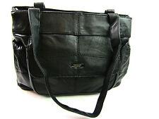 Ladies Designer Quality Black Soft Leather Twin Compartment Shoulder Bag Handbag
