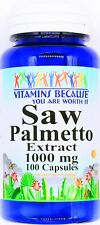 1000mg Saw Palmetto Berry 100 Capsule 250mg 4:1 Extract Prostate Support Pill VB