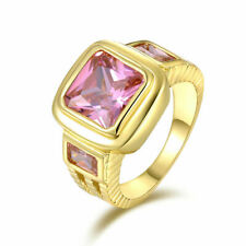 US SELLER Fashion Jewelry Band Size 12 unisex 18K Gold Filled PINK SAPPHIRE RING