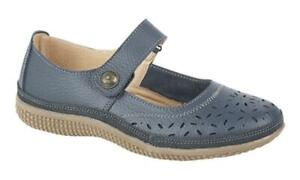 Boulevard ALEX Ladies Womens Extra Wide EEE Leather Mary Jane Shoes Navy