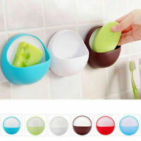 Practical Suction Cup Soap Toothbrush Dish Bathroom Caddy Drain Rack Holder*1