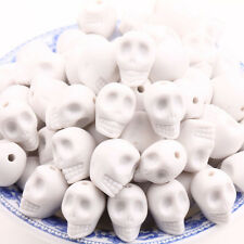Hot 20Pcs White Acrylic Skull Head Howlite Spacer Loose Beads Charms 12x10mm
